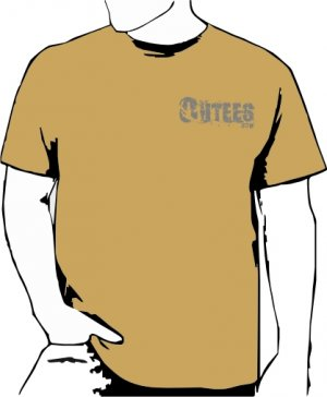 Khaki Outees 2XL-3XL Small Front Logo Large Back Design Inside-Out