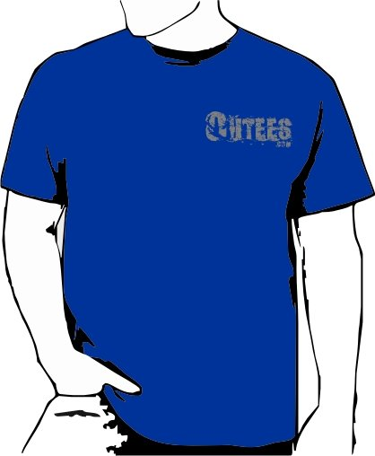 Blue Outees S-XL Small Front Logo Large Back Design Inside-Out
