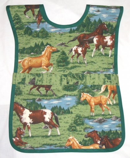 School Paint Smock - Horses -  Handmade Kids Childs Art Craft Preschool