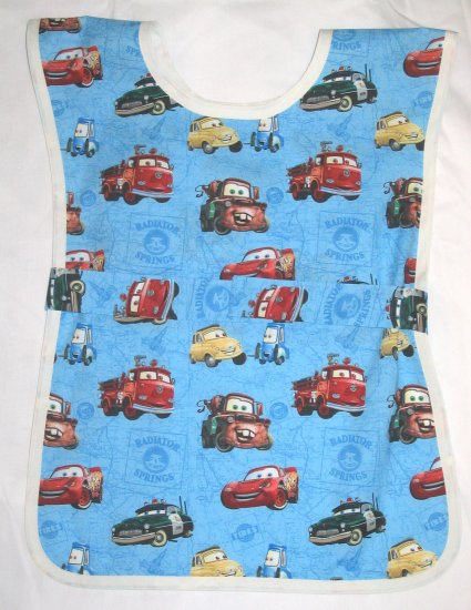 Blue Disney Cars School Paint Smock -  Handmade Boys Art Craft Preschool Child Kids