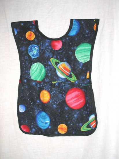 School Paint Smock -  Handmade Boys Planets Outer Space Art Craft Preschool