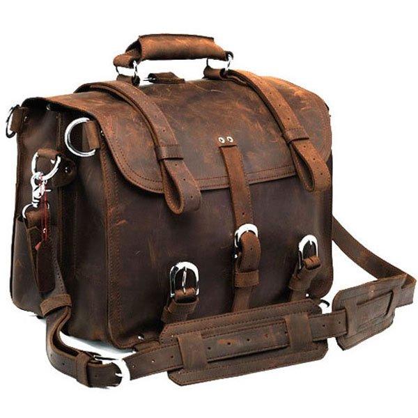 WOW Arrogance Vintage Classic Crazy Horse Leather Briefcase Handbag/Backpack/Travel Bag/Laptop Bag