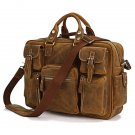 Rare Crazy Horse Leather Men's Briefcase Laptop Bag Dispatch Shoulder Huge Duffle