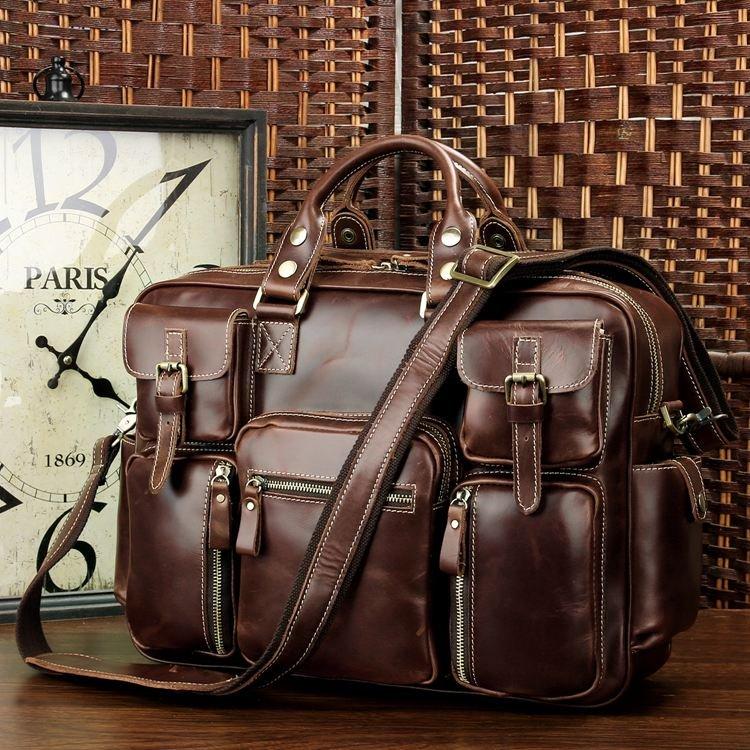 Rare Crazy Horse Leather Men's Briefcase Laptop Bag Dispatch Shoulder Huge Duffle in Red Wine