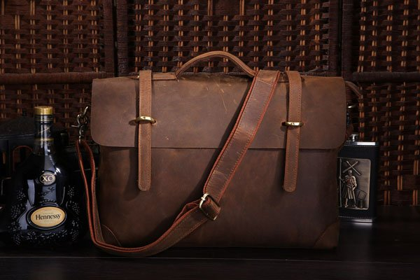 "Antique Crazy Horse leather Briefcase Laptop Messenger Bag Ipad 14"" 15"" Laptop 15"" Macbook Bag"