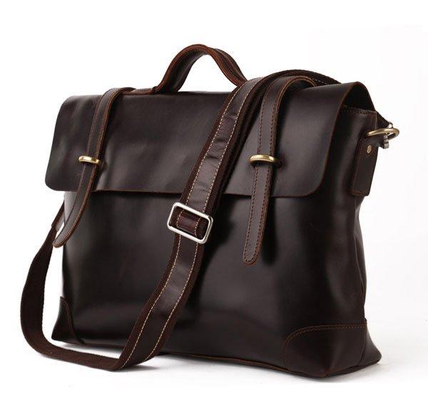 Genuine Cow Leather Briefcase Laptop Messenger Bag Ipad Macbook Bag in Dark Coffee