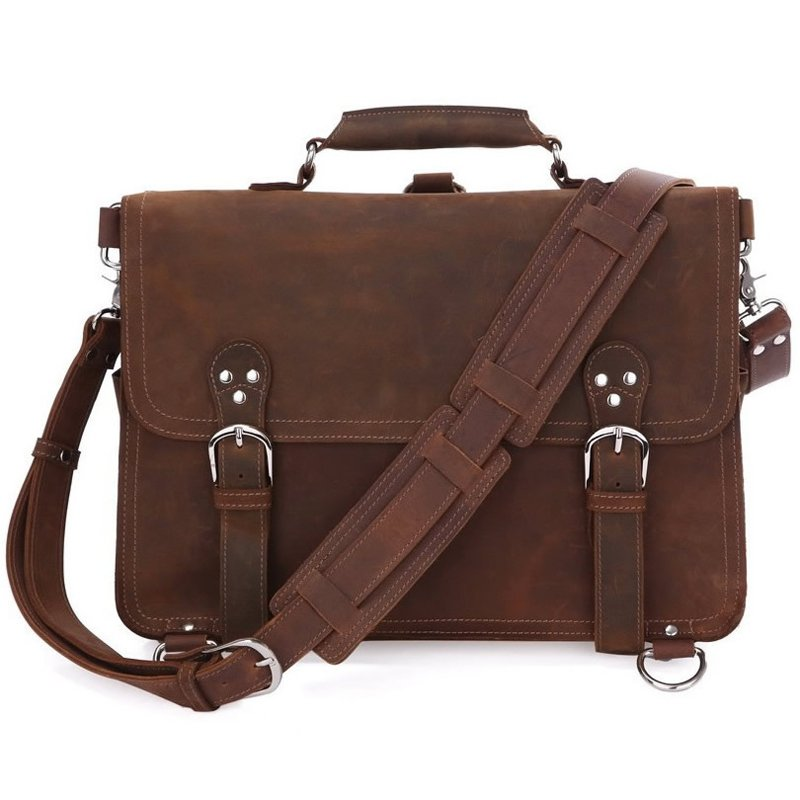 Large Crazy Horse Leather Briefcase Messenger Computer Bag Double Compartments Travel Tote Bag