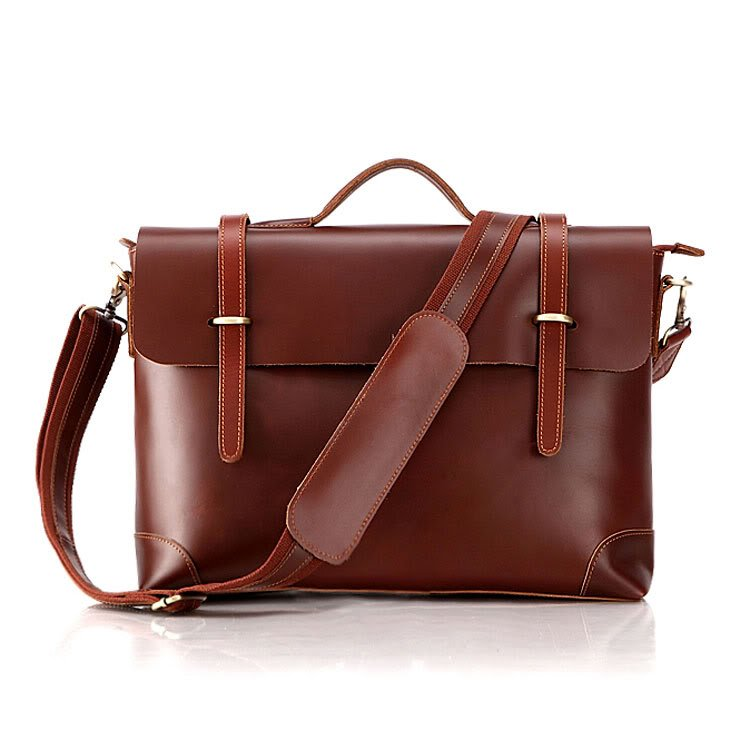 Genuine Cow Leather Briefcase Laptop Messenger Bag Ipad Macbook Bag in Red Brown