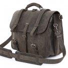 WOW ARROGANCE Gray Vintage Handmade Antique Crazy Horse Leather Briefcase Backpack Messenger bag