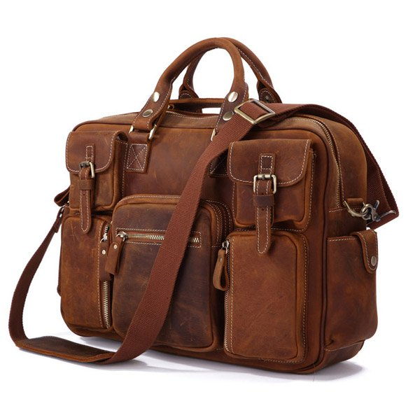 Rare Crazy Horse Leather Men's Briefcase Laptop Bag Dispatch Shoulder Huge Duffle in Red Brown