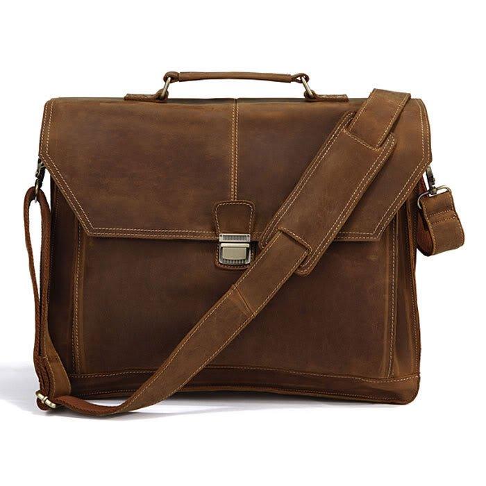 "Antique Genuine Crazy Horse Leather Men Briefcase/16"" Laptop Handbag/Messenger Bag 15"" 17"" Macbook"