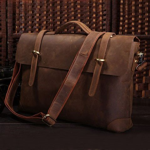 "Antique Distressed Cow leather Briefcase Laptop Messenger Bag Ipad 14"" 15"" Laptop 15"" Macbook Bag"