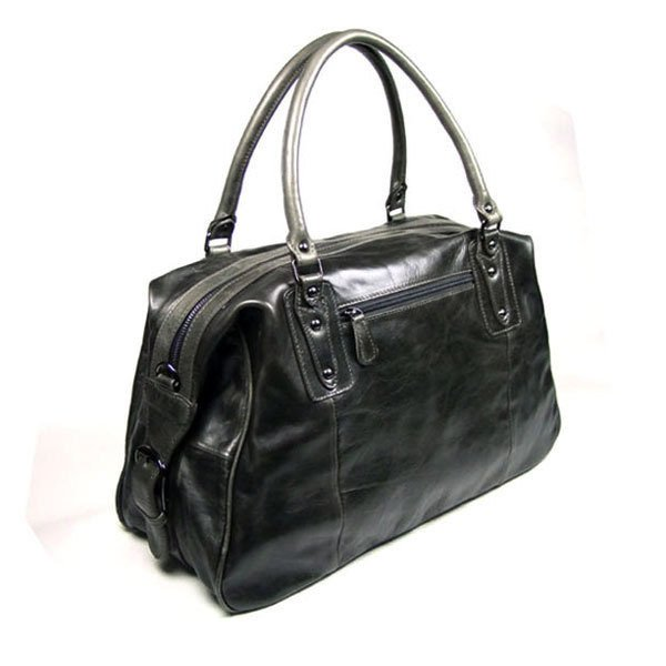 Genuine Vintage Leather Unisex Coffee-Brown Handbag Tote Travel Bag Messenger in Dark Gray