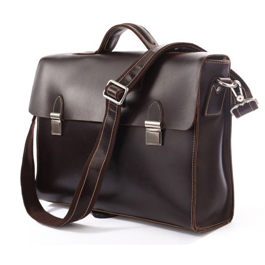"""Freeshipping Genuine Leather Briefcase Messenger 14"""" 15"""" Laptop 13"""" 15"""" MacBook Bag in Coffee"""