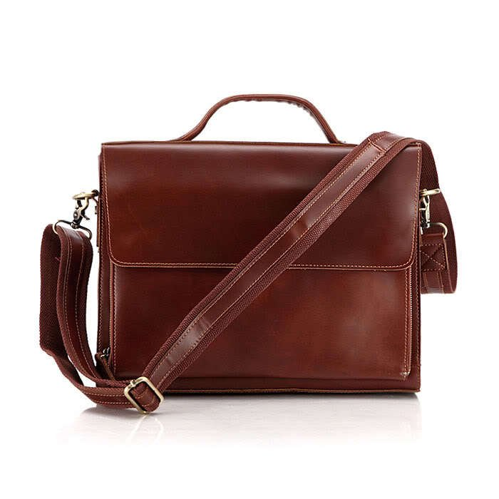"""Top Quality Cowhide Leather Briefcase Messenger Bag 14"""" Laptop 13"""" MacBook Case in Red Brown"""