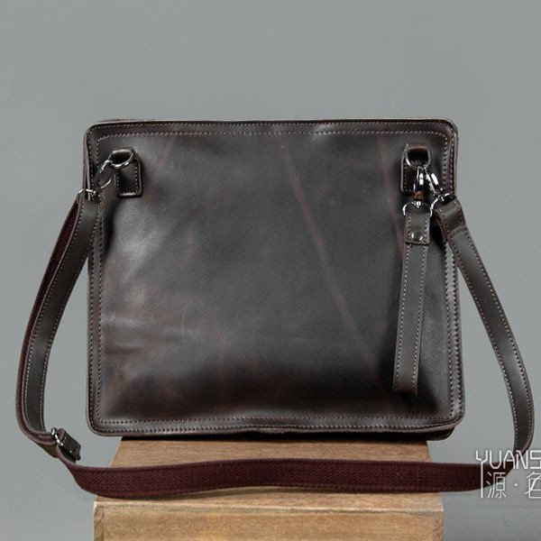Men's Envelope Clutch Bag Genuine Cowhide Leather Messenger Bag Shoulder Bag in Black