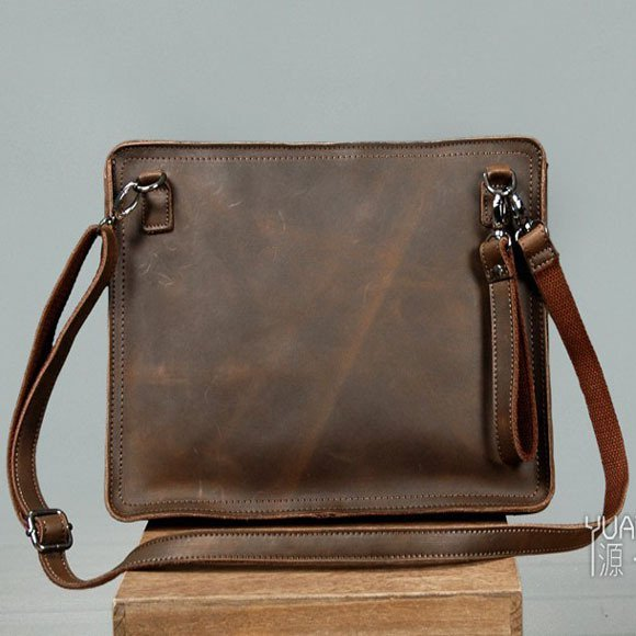 Men's Envelope Clutch Bag Genuine Cowhide Leather Messenger Bag Shoulder Bag in Coffee