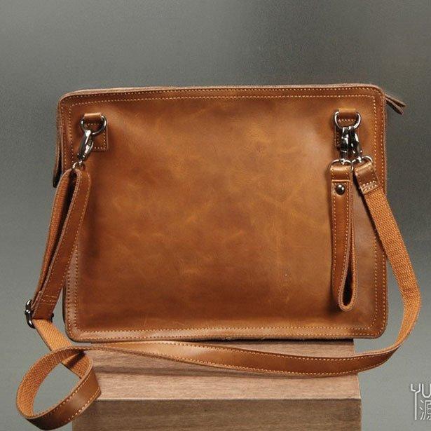 Men's Envelope Clutch Bag Genuine Cowhide Leather Messenger Bag Shoulder Bag in Yellow