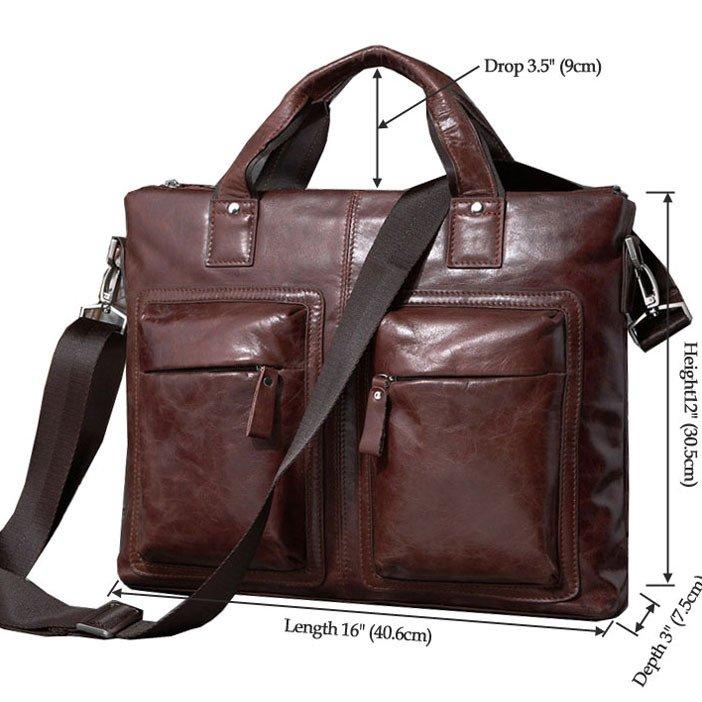 """Hot Selling Vintage Leather Men's Black Briefcase 15"""" Laptop Bag Messenger Handbag in Coffee"""