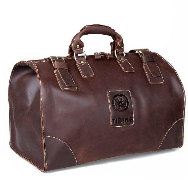 Crazy Horse Large Volume Leather Travel Bag Business Luggage Case Handbag Tour Baggage Tiger Totem