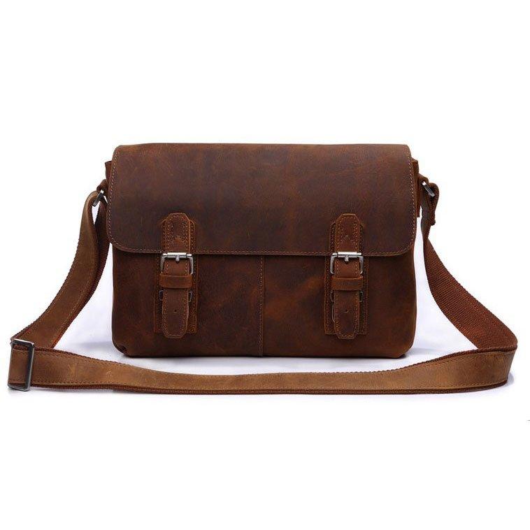 Hot Selling Vintage Handmade Crazy Horse Leather Brown Shoulder Messenger Bag Crossbody Purse