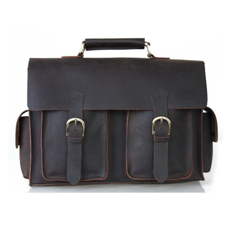 """New Model Vintage 13"""" Laptop Bag Briefcase Crazy Horse Leather Messenger Satchel"""