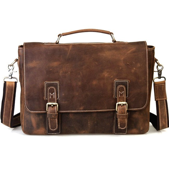 "Handmade Vintage Crazy Horse Leather Messenger Briefcase 14"" Laptop 15"" Macbook Ipad Case Brown"
