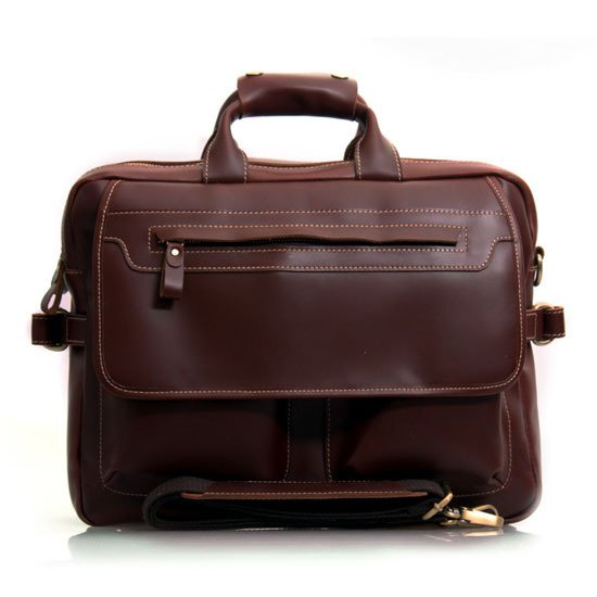 "Dark Brown Leather Multi-functional Men's Briefcase Messenger 16"" Laptop Macbook Bag Birthday Gift"