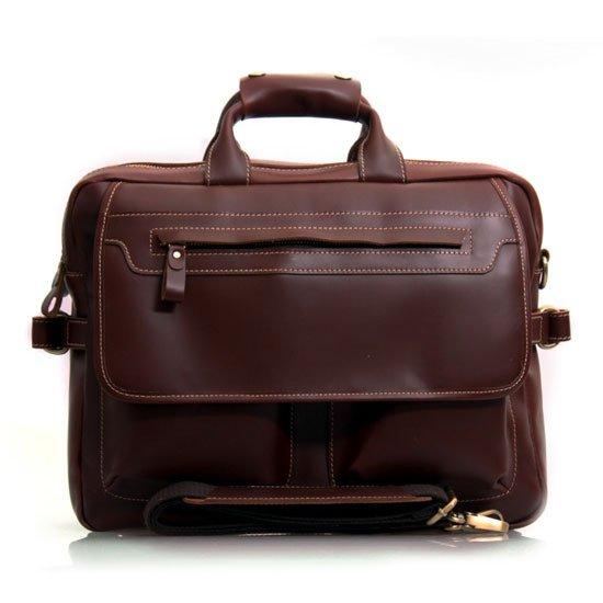"Dark Brown Leather Multi-functional Men's Briefcase Messenger 16"" Laptop Macbook Bag Birthday Gift"