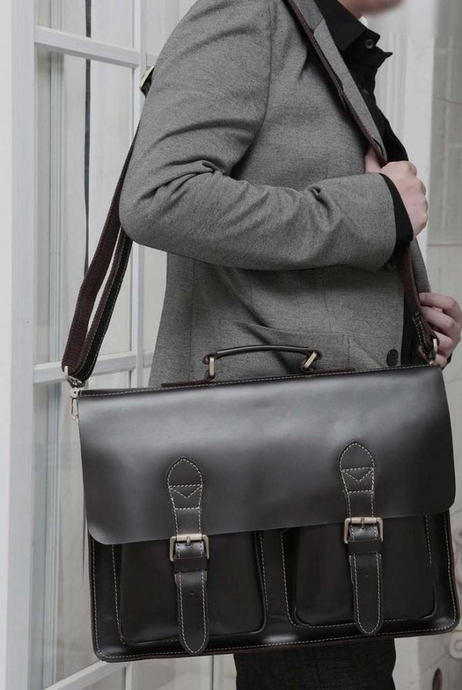 European Style Vintage Handmade Cowhide Genuine Leather Men's Briefcase Messenger Shoulder Bag