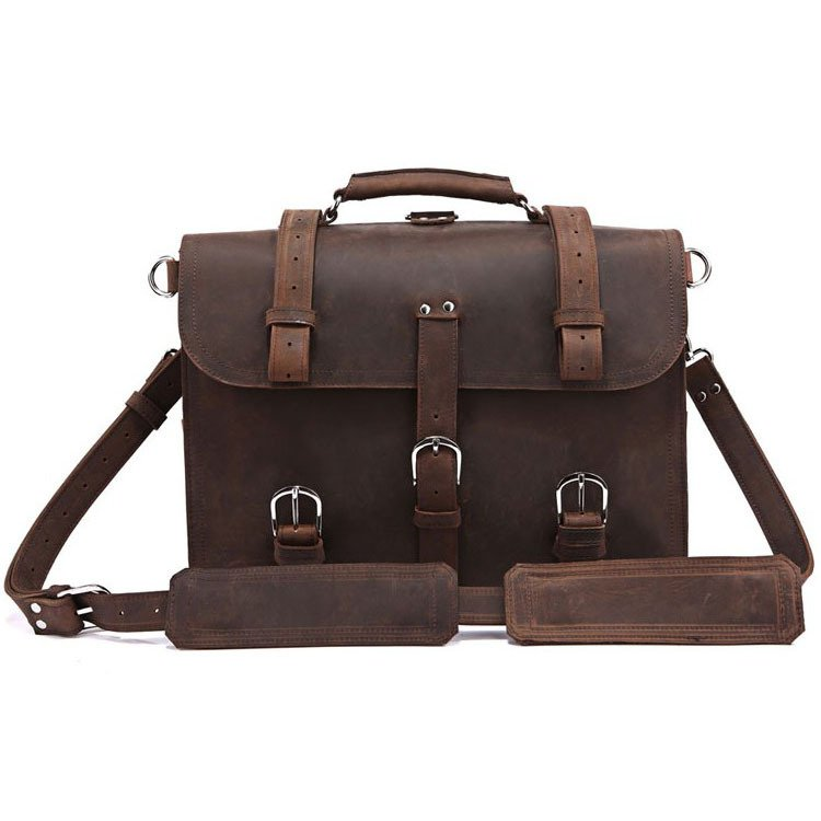Versatile Vintage Classic Crazy Horse Leather Briefcase Handbag/Backpack/Travel Bag/Laptop Bag
