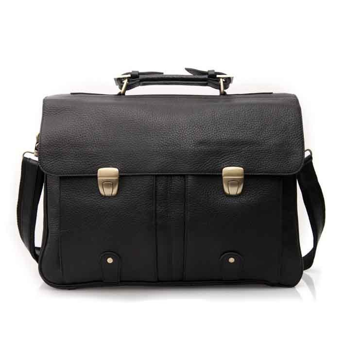 "Large Cowhide Men's Leather Briefcase 16"" Laptop Macbook Bag Work Necessity Formal Wear Bag"