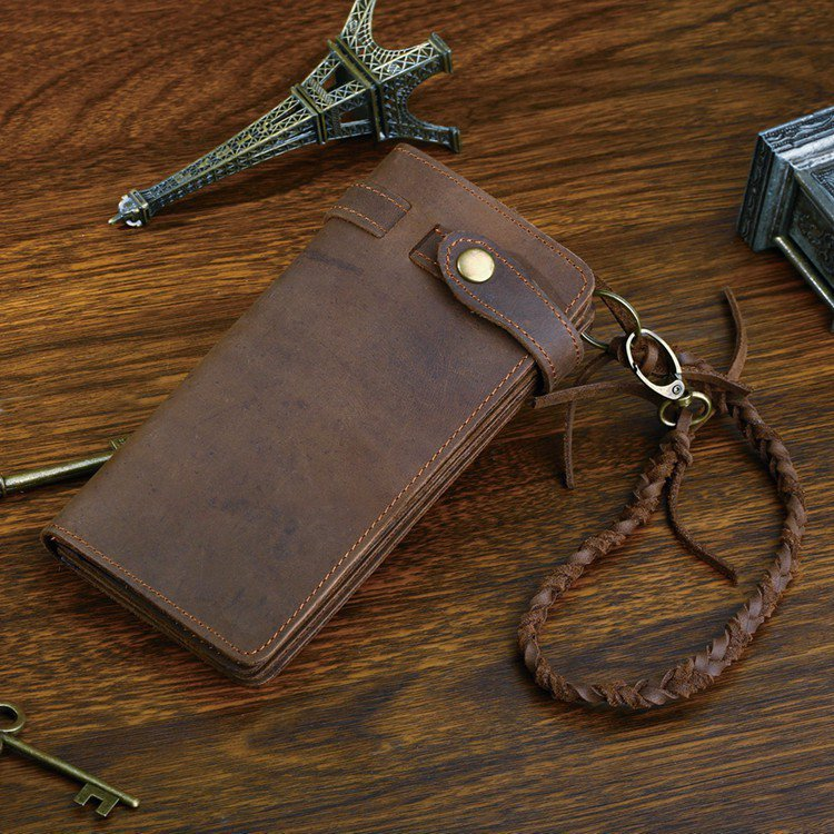 Distressed Genuine Leather Purse Long Wallet Card Holders Change Pocket iPhone Case - K80-31