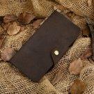 Men's Long Leather Wallet Card Holder Distressed Crazy Horse Leather Change Pocket - K 80-32
