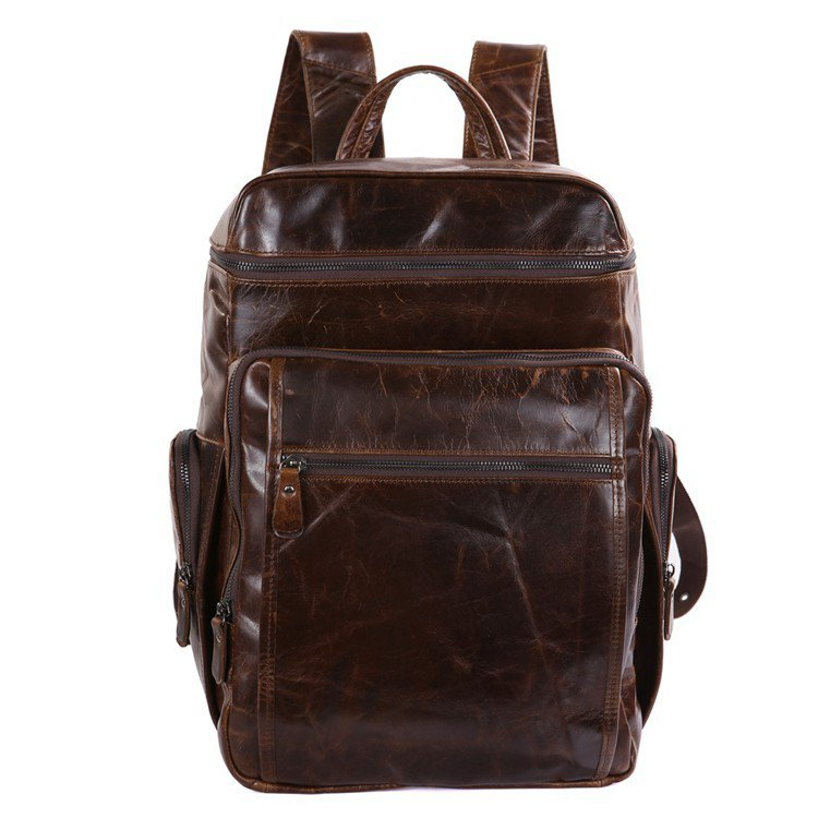 New Arrival Genuine Cowhide Leather Backpack Men's Travel Bag Business Suitcase Laptop Bags-K72-02