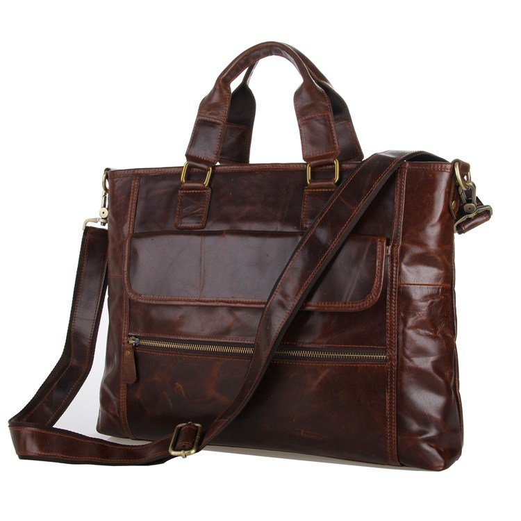 Vintage Leather Brown Macbook Shoulder Bag Messenger Bag Briefcase Tote Satchel - K72-12