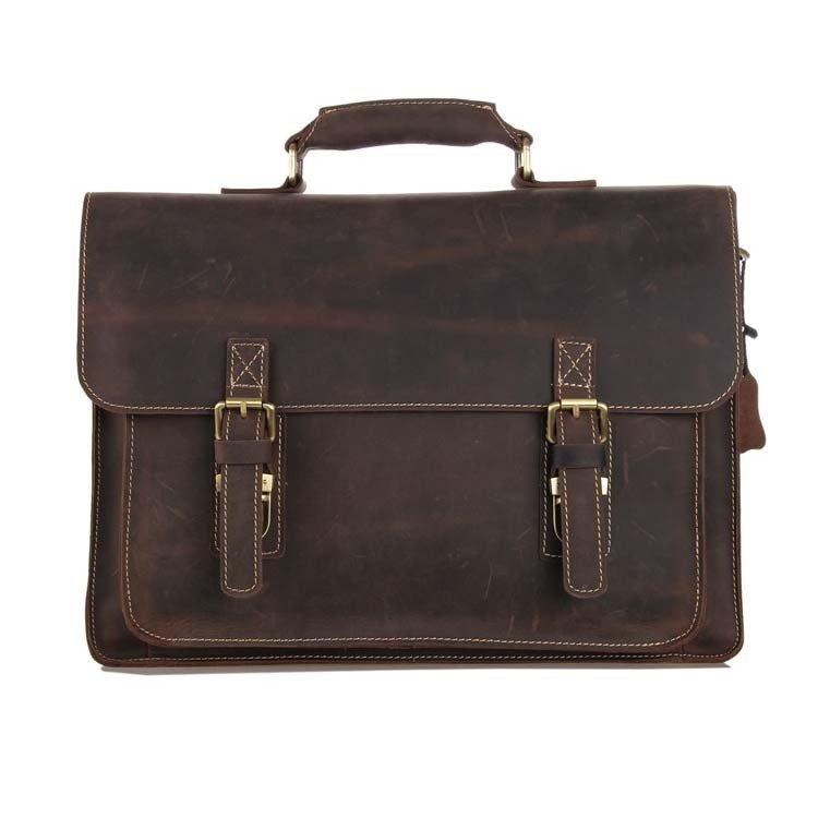 Distressed Leather Men's Shoulder Computer Bag Messenger Bag Cross Body Tote Briefcase - K72-05