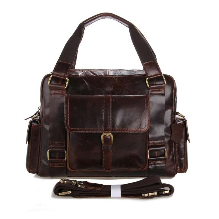 Genuine Vintage Leather Coffee Messenger Bag Handbag Business Bag Briefcase Laptop Bags - K72-06