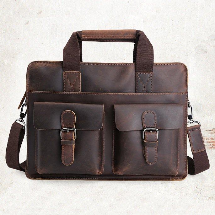 """Vintage Cow Leather Briefcase Messenger Shoulder Bag 14"""" Laptop Macbook Bag--FREE SHIPPING"""
