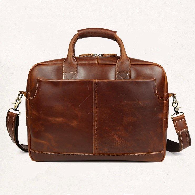 "Vintage Men's 1st Grade Cow Leather Handbag Briefcase Messenger 16"" Laptop Case--FREE SHIPPING"