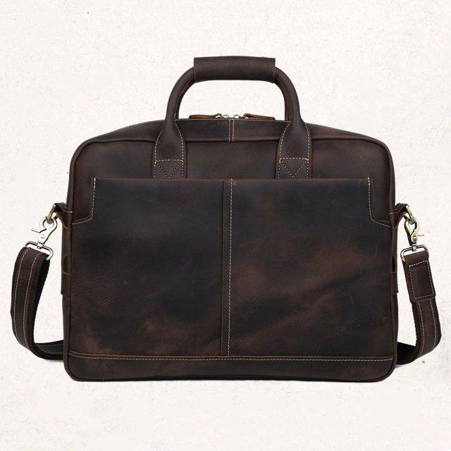"Antique Men's Crazy Horse Leather Handbag Briefcase Messenger 16"" Laptop Case--FREE SHIPPING"