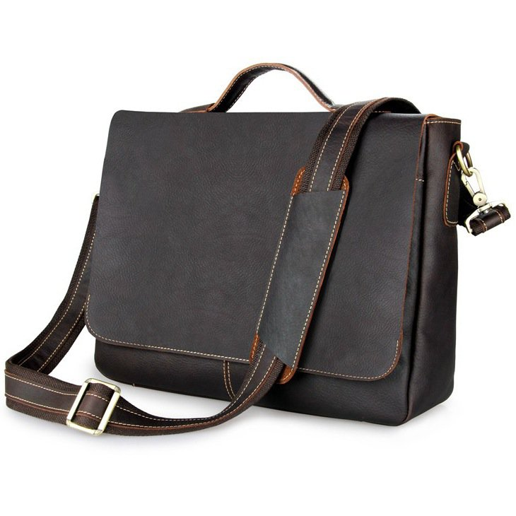 "Vintage Cowhide Leather Business Briefcase/Messenger/13""14""15"" Laptop MacBook Bag--FREE SHIPPING"