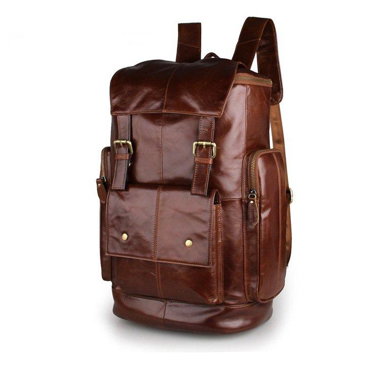 "Big Volume Backpack Top Grade Cowhide Leather Travel Bag School Bag 15"" Laptop Bag--FREE SHIPPING"