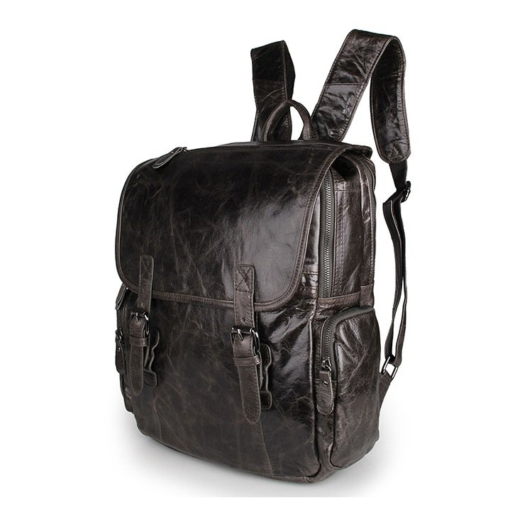 New Genuine Cow Leather Backpack Satchel Laptop Journey Rucksack Travel Bag--FREE SHIPPING