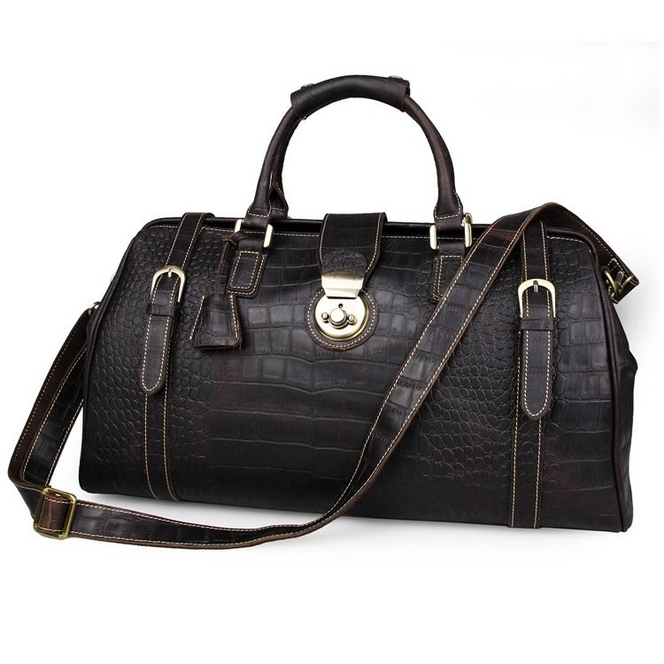 Crocodile Pattern Vintage Genuine Leather Travel Bag Laptop Bag Dispatch Bag--FREE SHIPPING