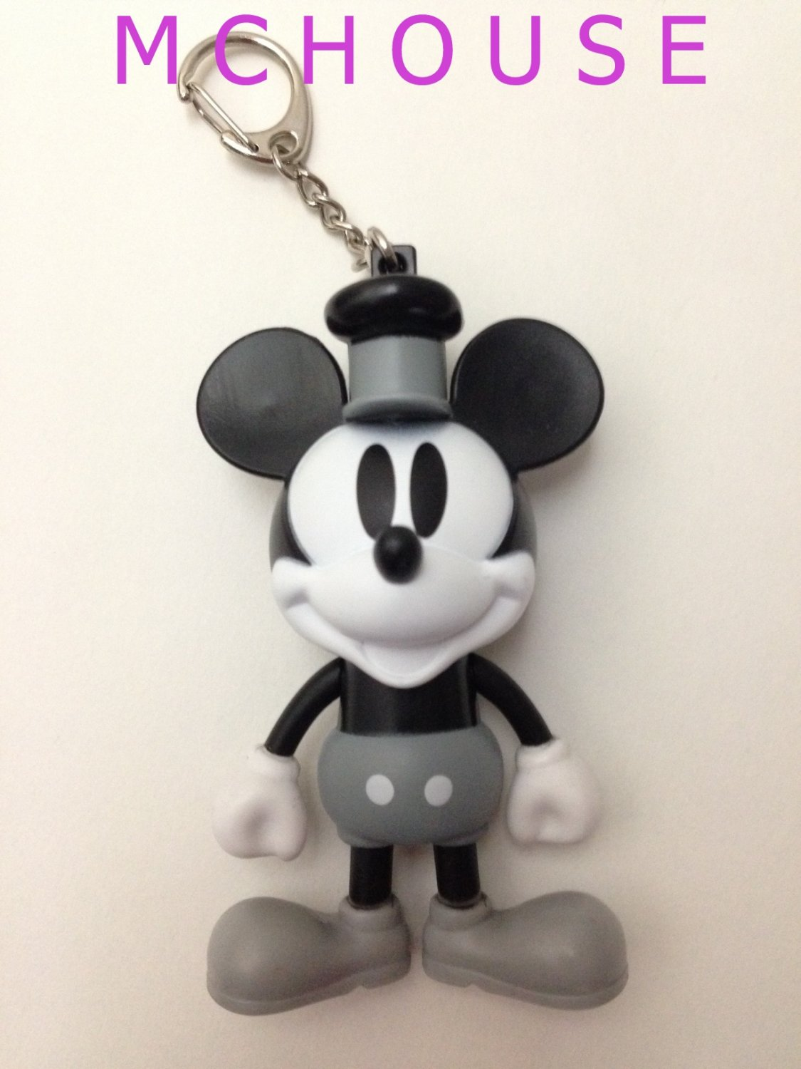 7-11 HK Disney 90th Mickey Mouse and Friends No.10 Black & White Mickey Keychain