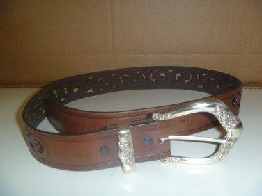 Brighton Tooled Brown Leather Belt Sz M-L 32