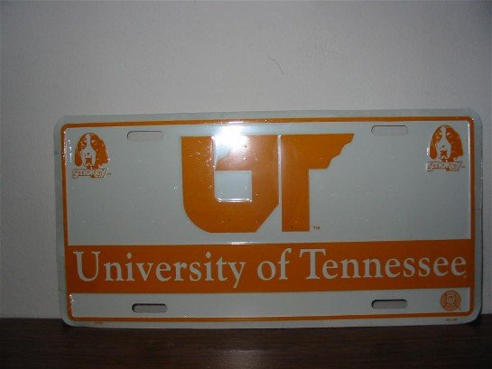 University of Tennessee metal license plate-white