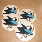 San Jose Sharks Handpainted Wooden Coasters-set of 4