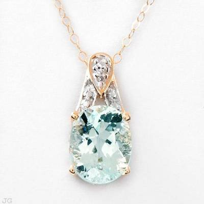 2.11 Carat Aquamarine & Diamond Pendant